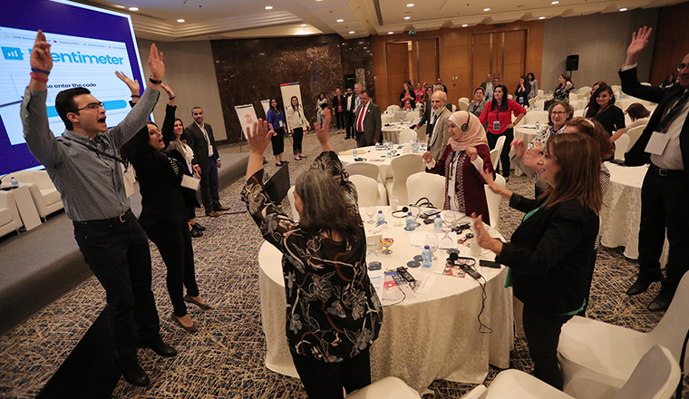 Attendees of the 2018 Jordan MEL Conference in a session.