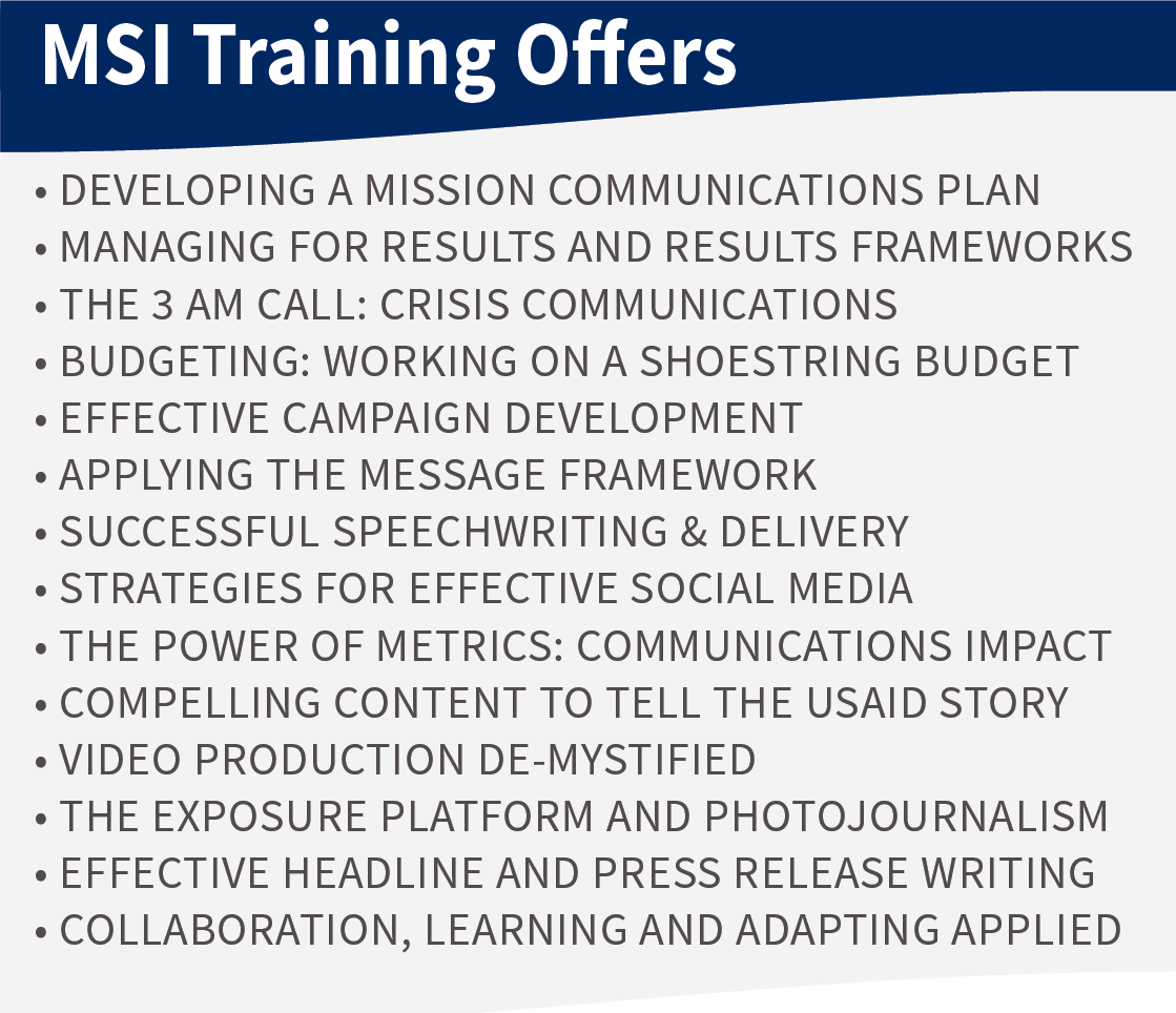 Graphic showing MSI strategic communications trainings