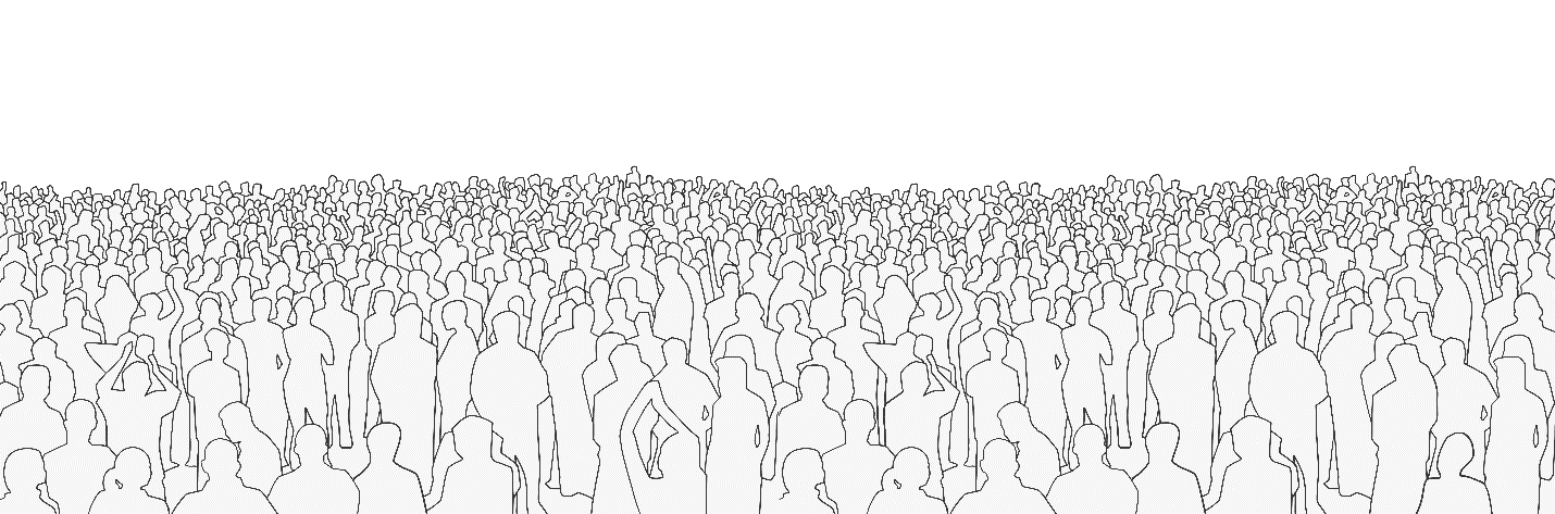 Outline of a crowd of people