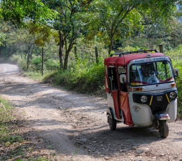 Three-wheeled rickshaw on rough road surrounded by trees